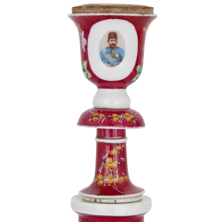 Gilt 19th Century Pink Painted Porcelain Huqqa For Sale