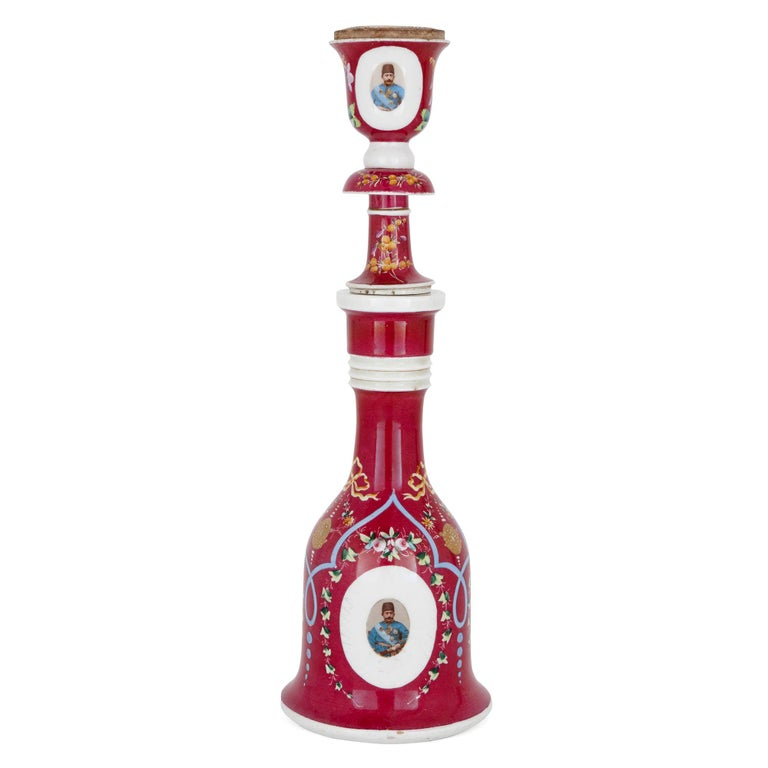 19th Century Pink Painted Porcelain Huqqa For Sale
