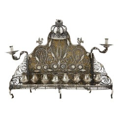 19th Century Polish Silver Hanukkah Lamp