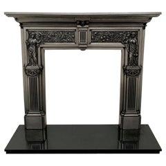 19th Century Polished Cast-Iron Fireplace Mantelpiece