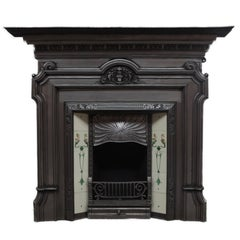 19th Century Polished Cast Iron Victorian Fireplace Surround and Tiled Insert