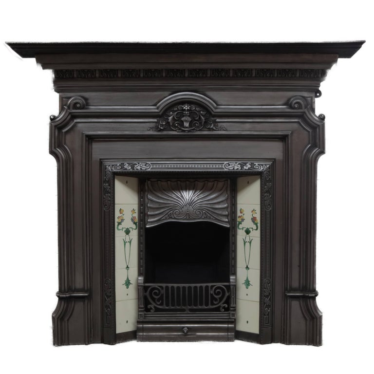 19th Century Polished Cast Iron Victorian Fireplace Surround And