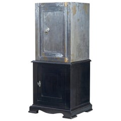 19th Century Polished Steel Safe on Stand