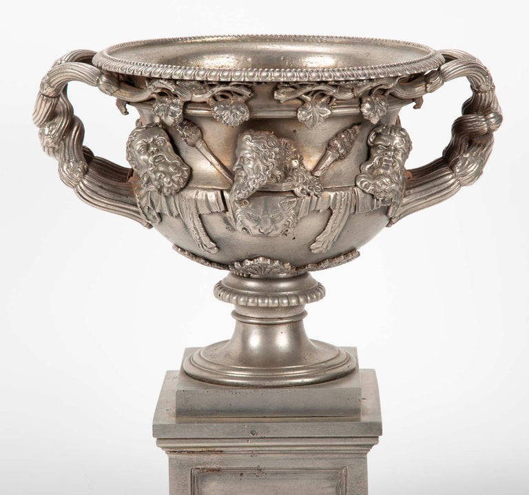 A fine and rare example of the Warwick Vase in polished steel. A handsome rendition of the famous Roman original. After it's excavation from Hadrian's Villa in the late 18th century it caused a sensation and copies were made in various sizes and