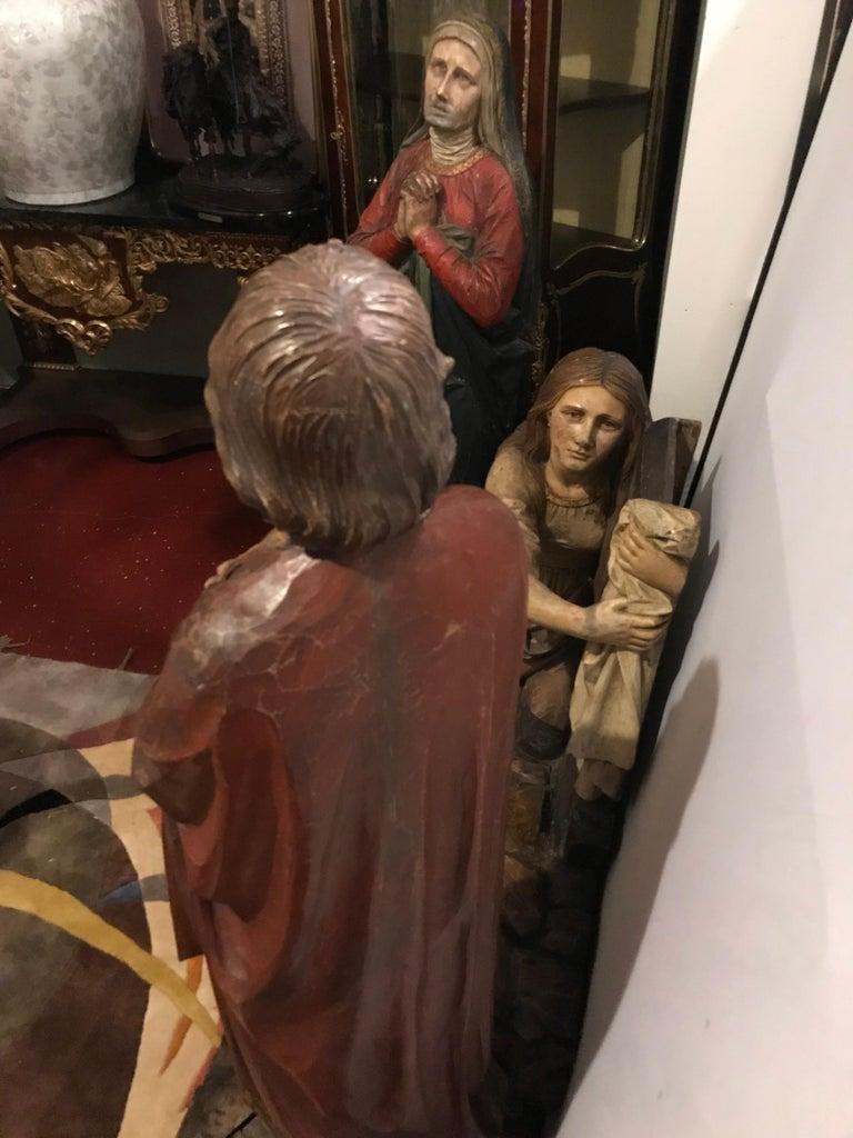 19th Century Polychrome and Paint Decorated Life Sized Crucifixion of Christ For Sale 9