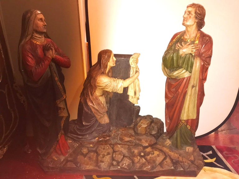 19th Century Polychrome and Paint Decorated Life Sized Crucifixion of Christ Religious scene. The three figures showing Mary at the left, Mary Magdalen kneeling, and St. John at the right. A cross with the image of the Christ was placed on the