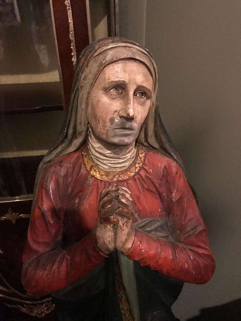 19th Century Polychrome and Paint Decorated Life Sized Crucifixion of Christ In Fair Condition For Sale In Stamford, CT