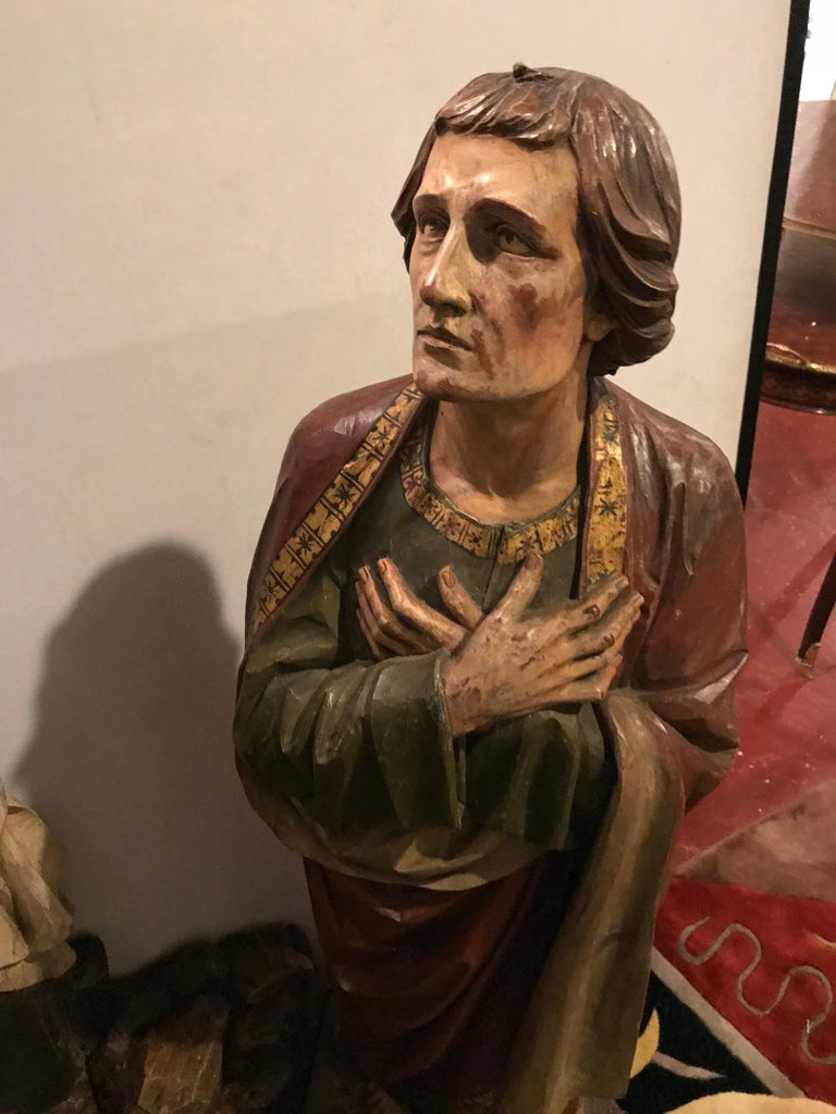 19th Century Polychrome and Paint Decorated Life Sized Crucifixion of Christ For Sale 5