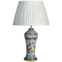 19th Century Polychrome Glazed Faience Vase Lamp