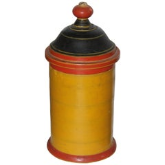 19th Century Polychrome Painted Hand Carved Wood Canister
