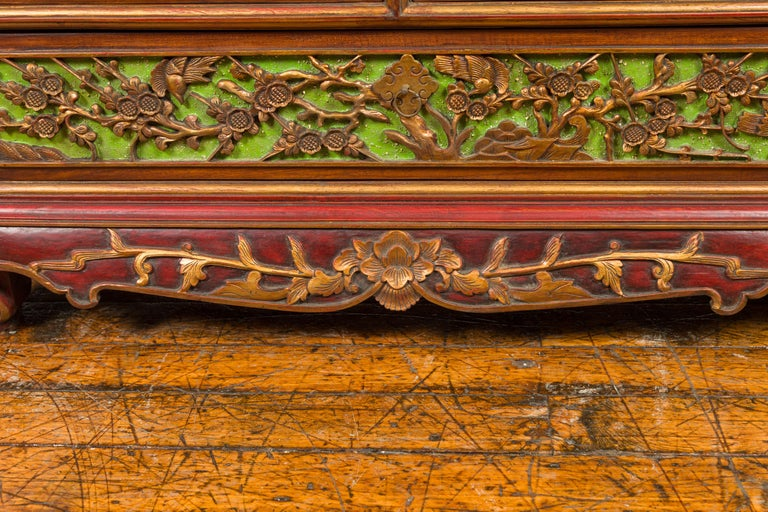 19th Century Polychrome Three-Drawer Chest from Madura with Carved Floral Motifs For Sale 6