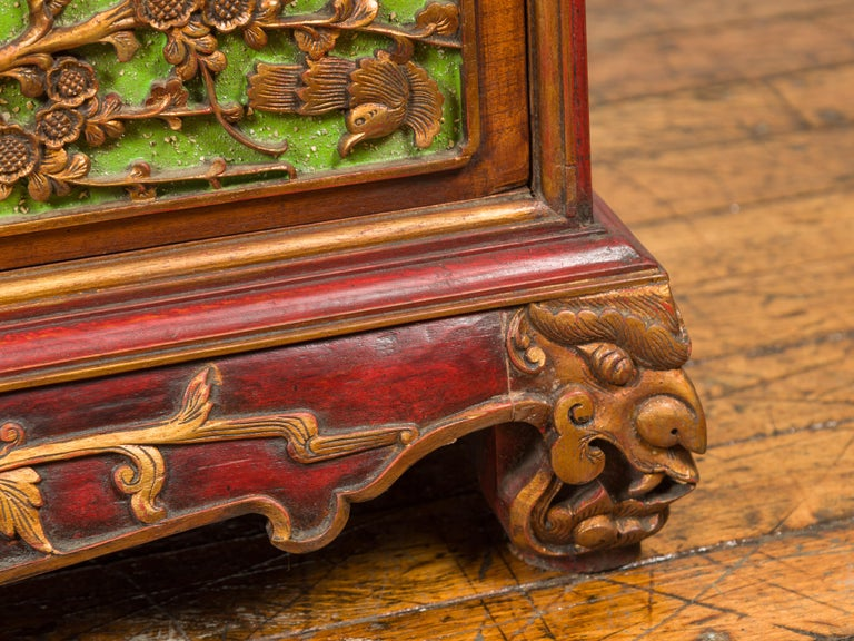19th Century Polychrome Three-Drawer Chest from Madura with Carved Floral Motifs For Sale 7