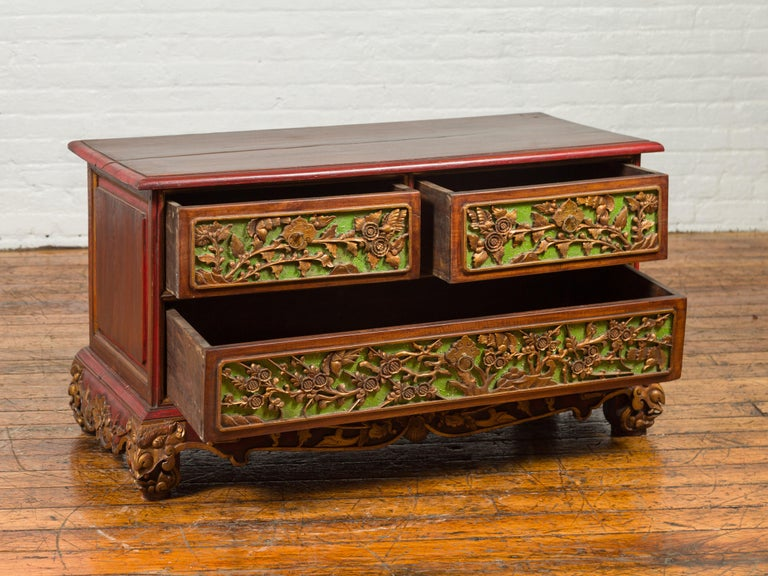 19th Century Polychrome Three-Drawer Chest from Madura with Carved Floral Motifs For Sale 8