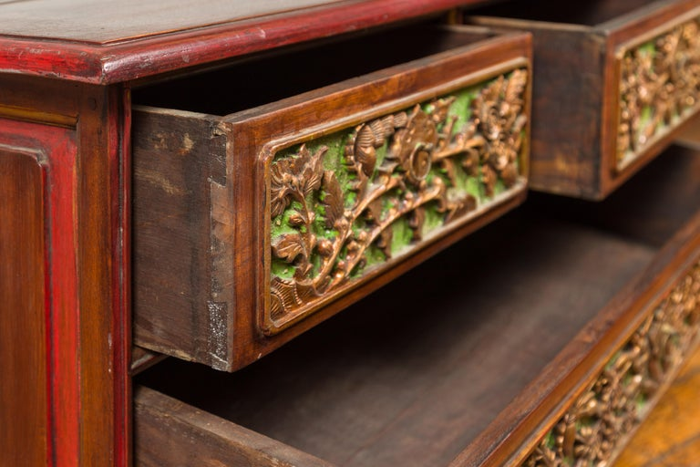 19th Century Polychrome Three-Drawer Chest from Madura with Carved Floral Motifs For Sale 9