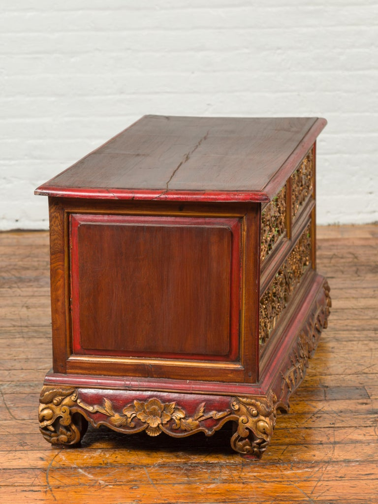 19th Century Polychrome Three-Drawer Chest from Madura with Carved Floral Motifs For Sale 11