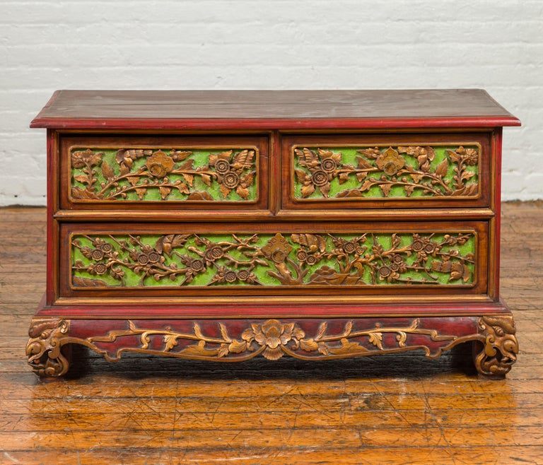 Wood 19th Century Polychrome Three-Drawer Chest from Madura with Carved Floral Motifs For Sale