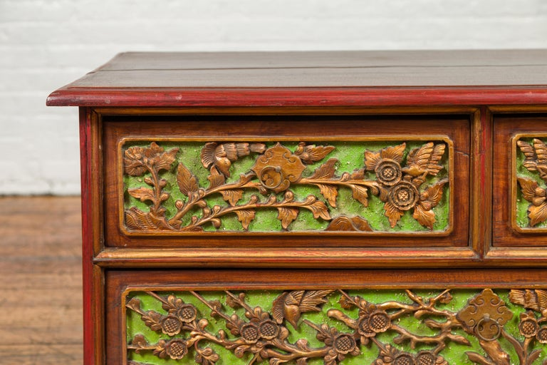19th Century Polychrome Three-Drawer Chest from Madura with Carved Floral Motifs For Sale 1