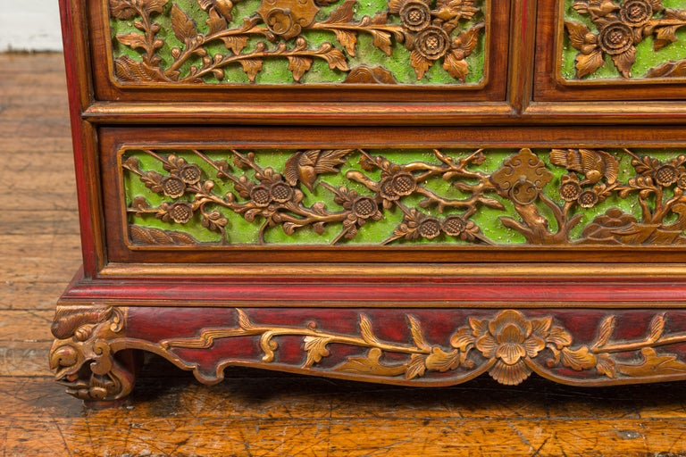 19th Century Polychrome Three-Drawer Chest from Madura with Carved Floral Motifs For Sale 3