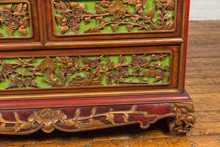 19th Century Polychrome Three-Drawer Chest from Madura with Carved Floral Motifs For Sale 4