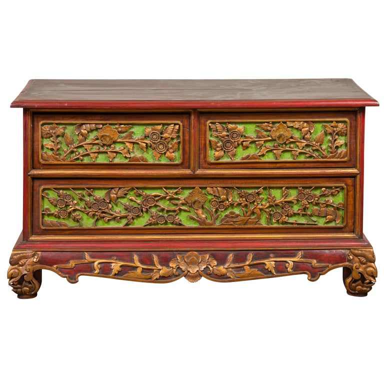 19th Century Polychrome Three-Drawer Chest from Madura with Carved Floral Motifs For Sale
