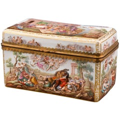 19th Century Porcelain Box with Fighting Scene by Meissen