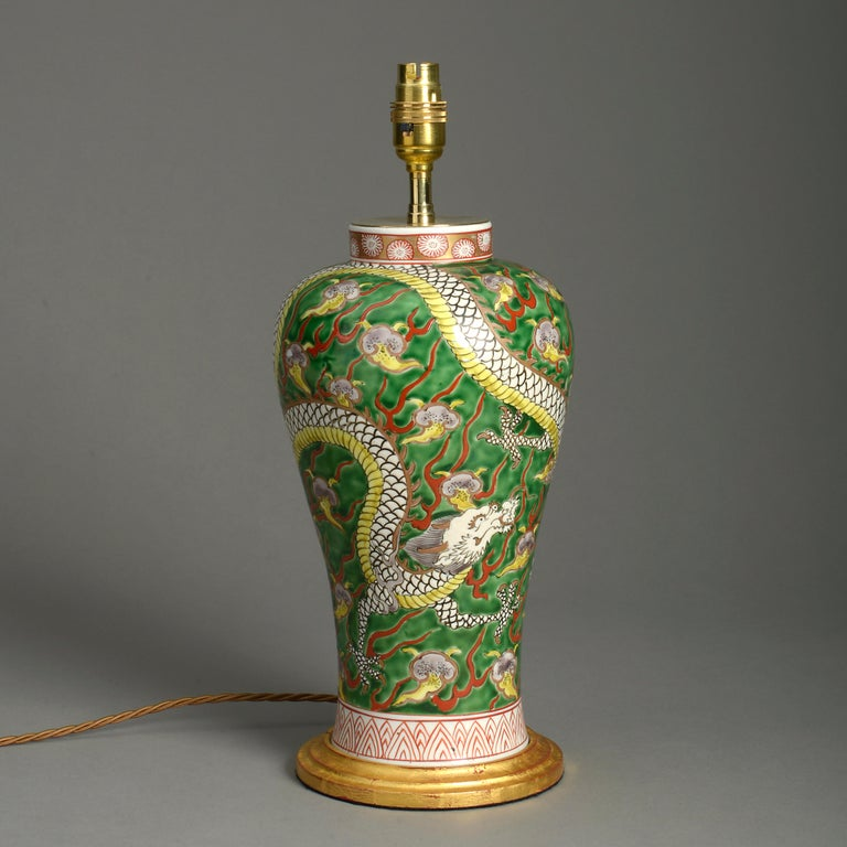 Chinese Export 19th Century Porcelain Dragon Vase Lamp For Sale
