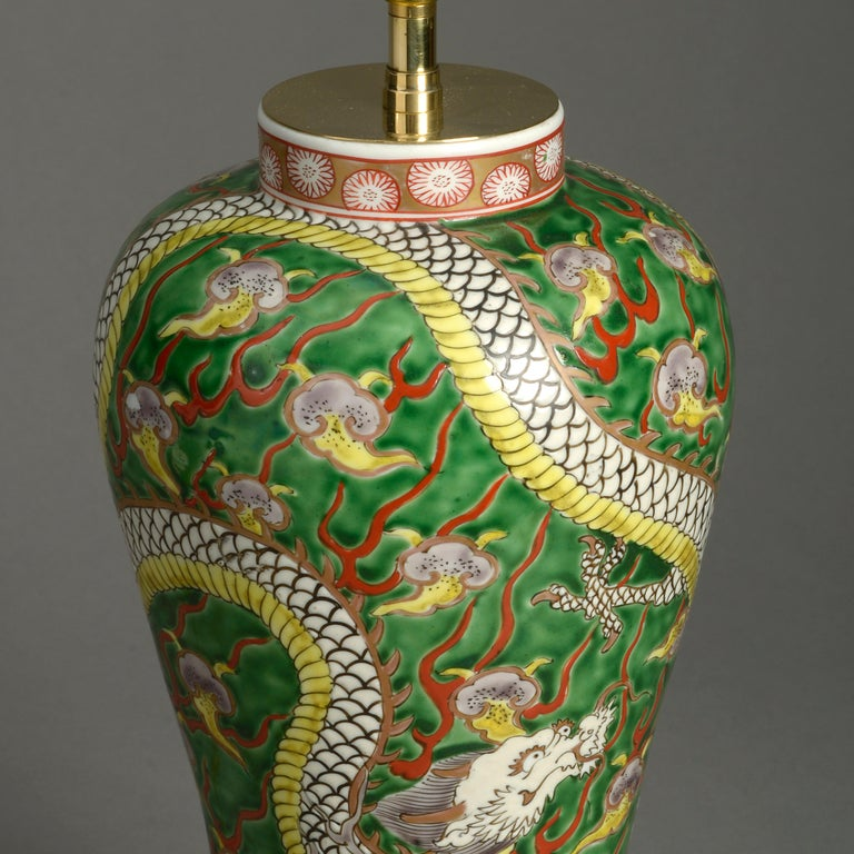 Chinese 19th Century Porcelain Dragon Vase Lamp For Sale