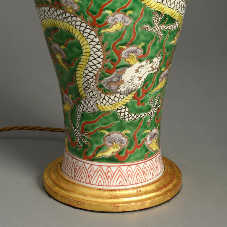 Fired 19th Century Porcelain Dragon Vase Lamp For Sale