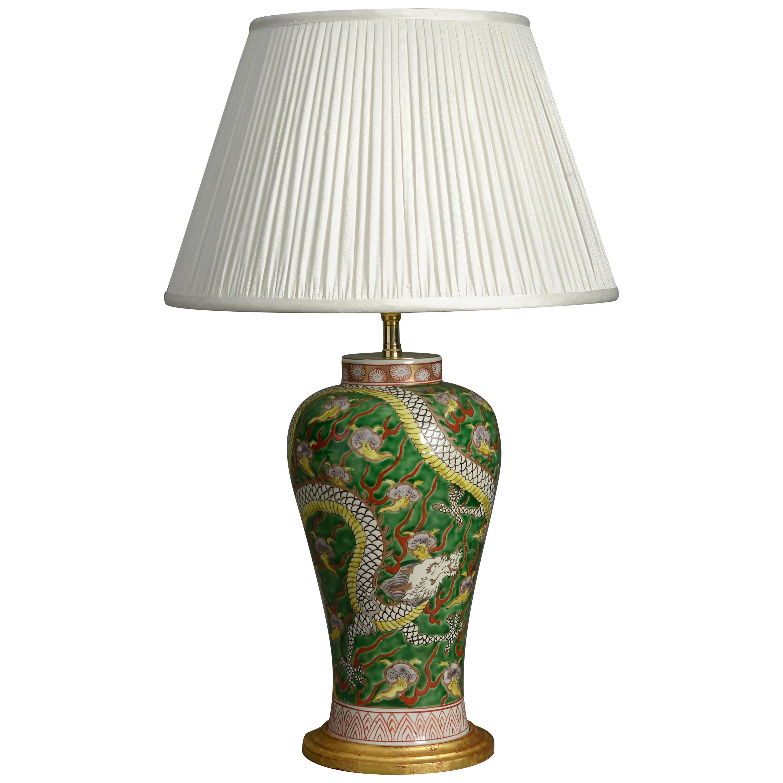19th Century Porcelain Dragon Vase Lamp