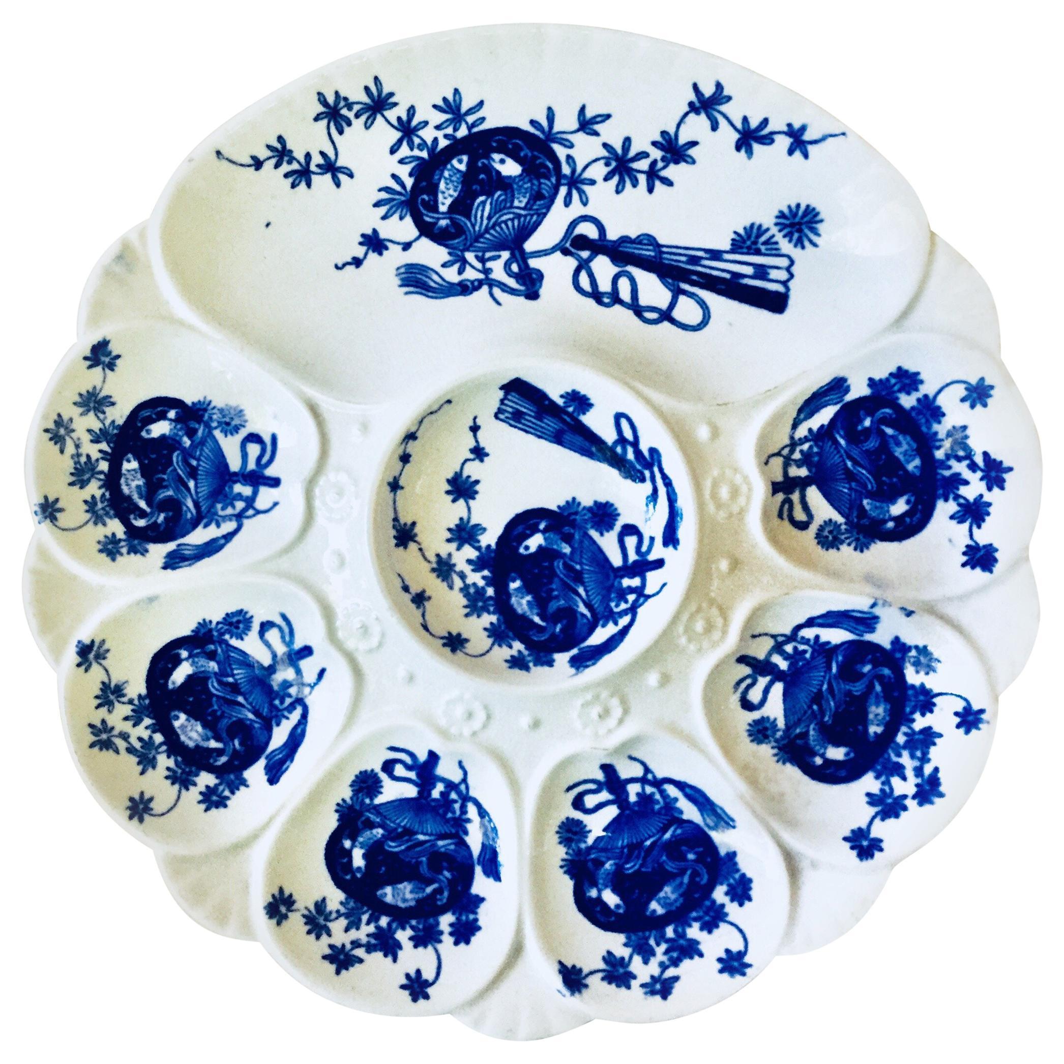 19th Century Porcelain Flow Blue Oyster Plate Minton