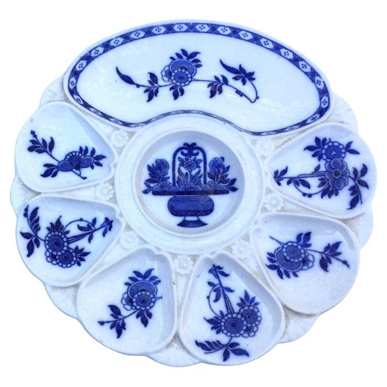 19th Century Porcelain Flow Blue Oyster Plate Minton For Sale