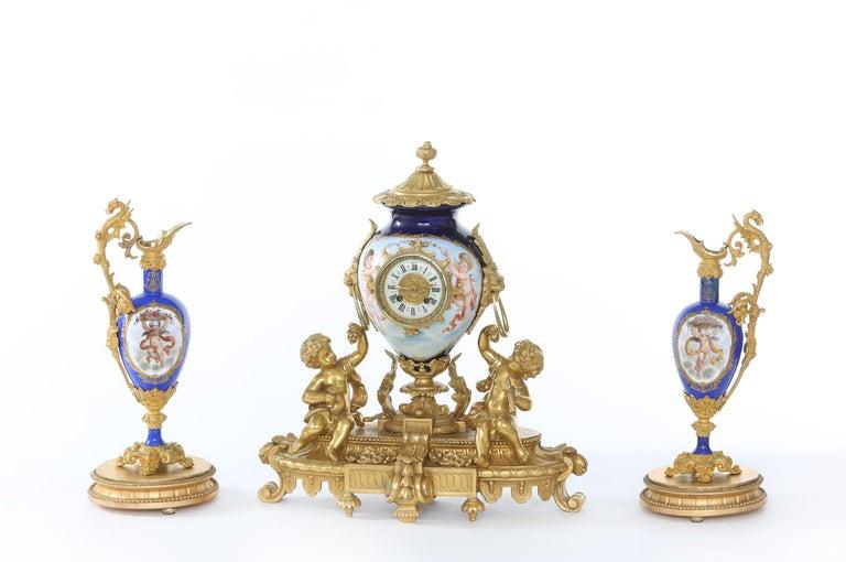 19th Century Porcelain or Gilt Bronze Three-Piece Garniture For Sale 7