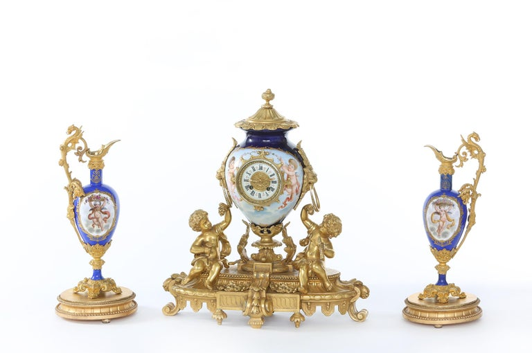 Regency Revival 19th Century Porcelain or Gilt Bronze Three-Piece Garniture For Sale