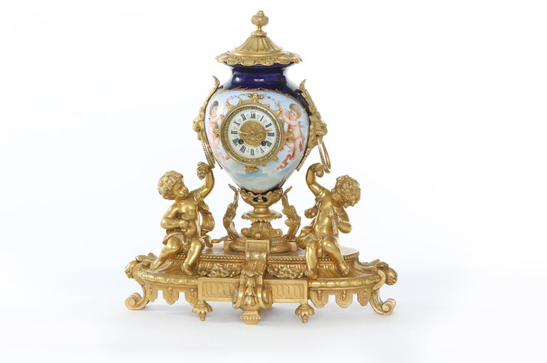 19th Century Porcelain or Gilt Bronze Three-Piece Garniture For Sale 1