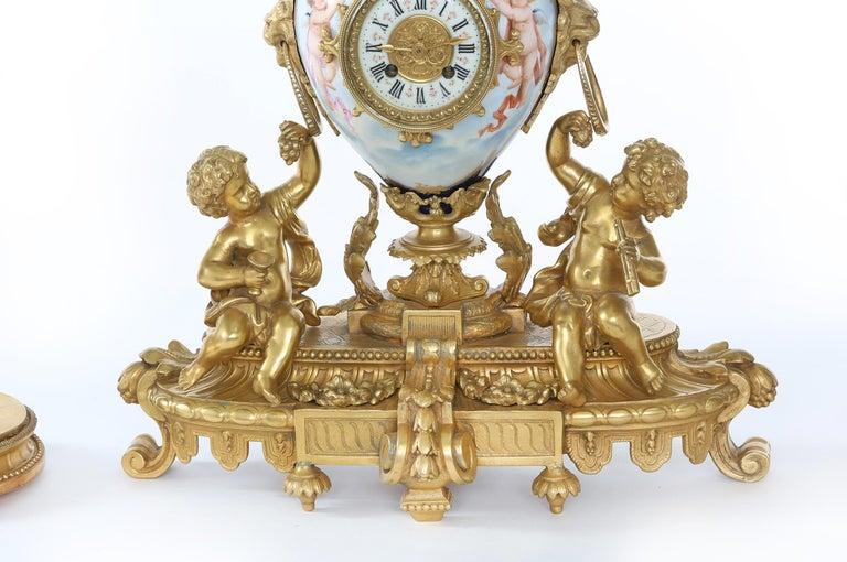 19th Century Porcelain or Gilt Bronze Three-Piece Garniture For Sale 3