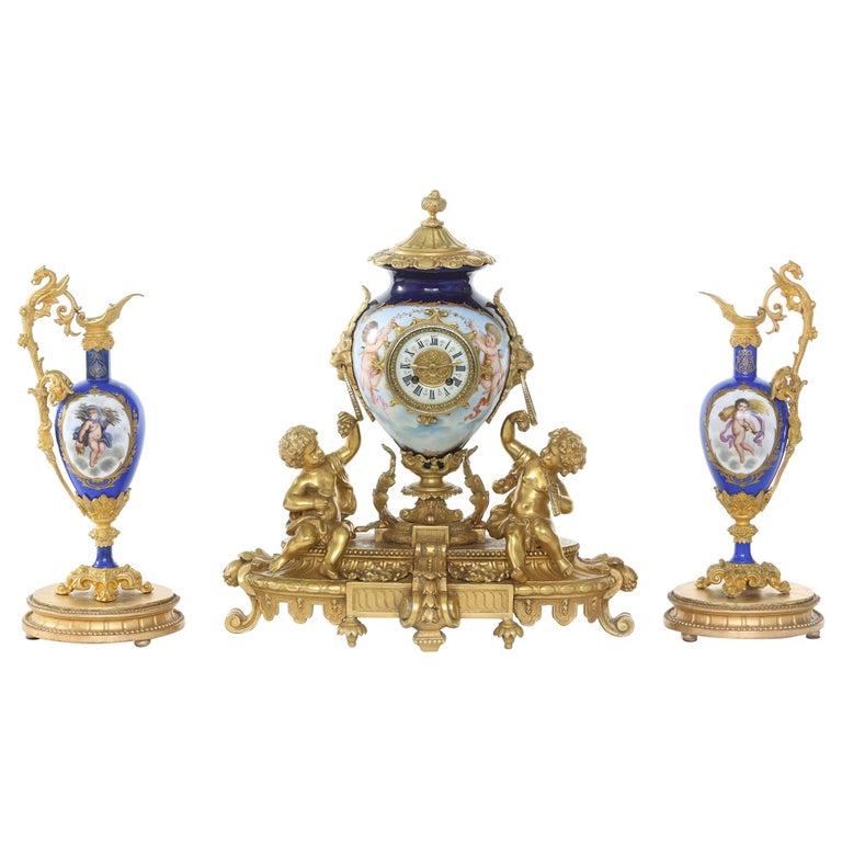 19th Century Porcelain or Gilt Bronze Three-Piece Garniture For Sale