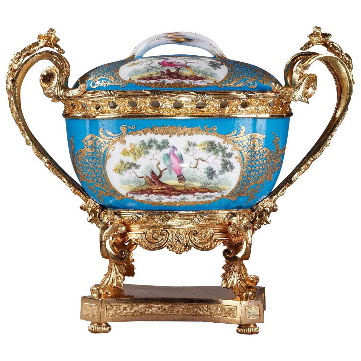 19th Century Porcelain-Mounted Covered Pot in Sevres Style