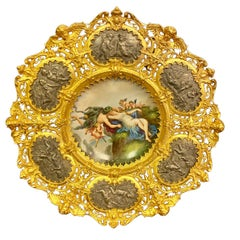 19th Century Porcelain Plate in a Gilt Bronze Frame
