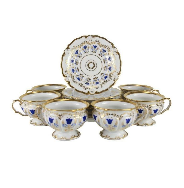 European 19th Century Porcelain Tea and Coffee Service for Six by K.P.M For Sale
