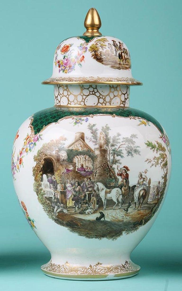 German 19th Century Porcelain Vases by Helena Wolfsohn, Dresden For Sale