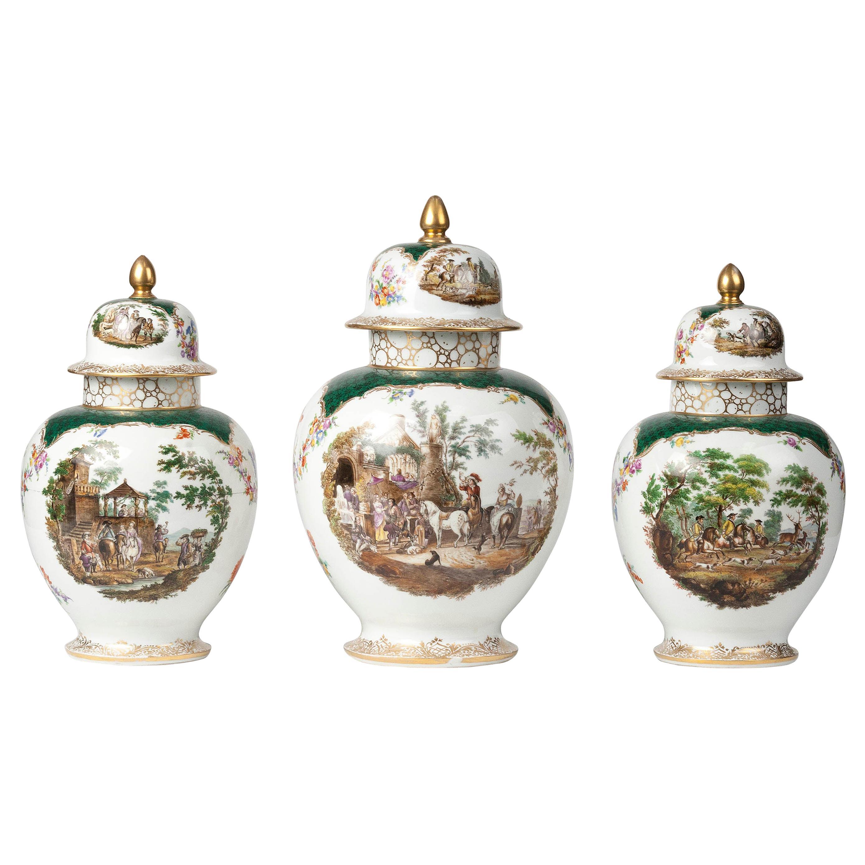 19th Century Porcelain Vases by Helena Wolfsohn, Dresden