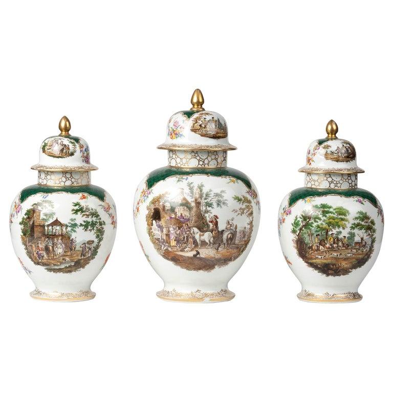 19th Century Porcelain Vases by Helena Wolfsohn, Dresden For Sale