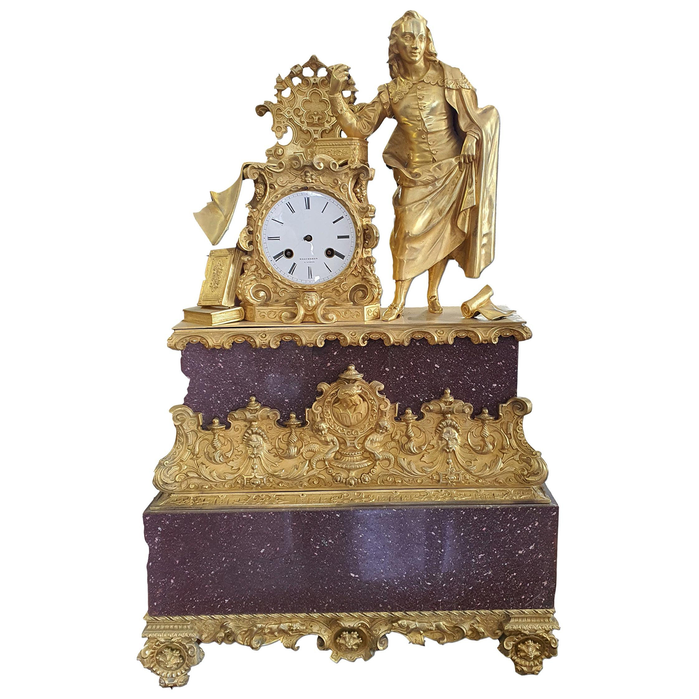 19th Century Porphyry and Gilded Bronzo Table Clock