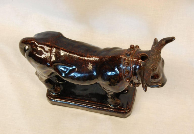 19th Century 19th C. Port Wine Cask of Large Brown Glazed Bull or Oxen, Possibly Rockingham For Sale