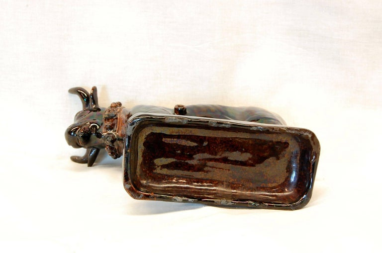 19th C. Port Wine Cask of Large Brown Glazed Bull or Oxen, Possibly Rockingham For Sale 2