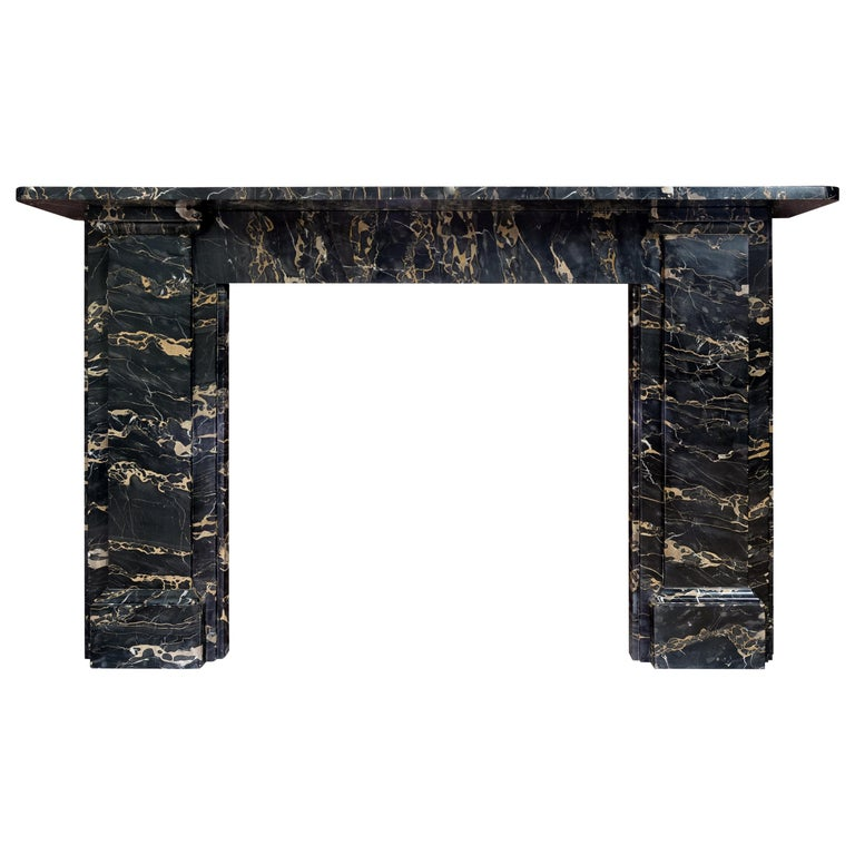 19th Century Portoro Marble Fireplace For Sale