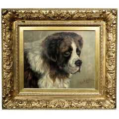19th Century Sporting Dog Portrait of a Saint Bernard by Lily Irene Jackson