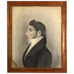 19th Century Portrait of a Young Gentleman Charcoal on Paper