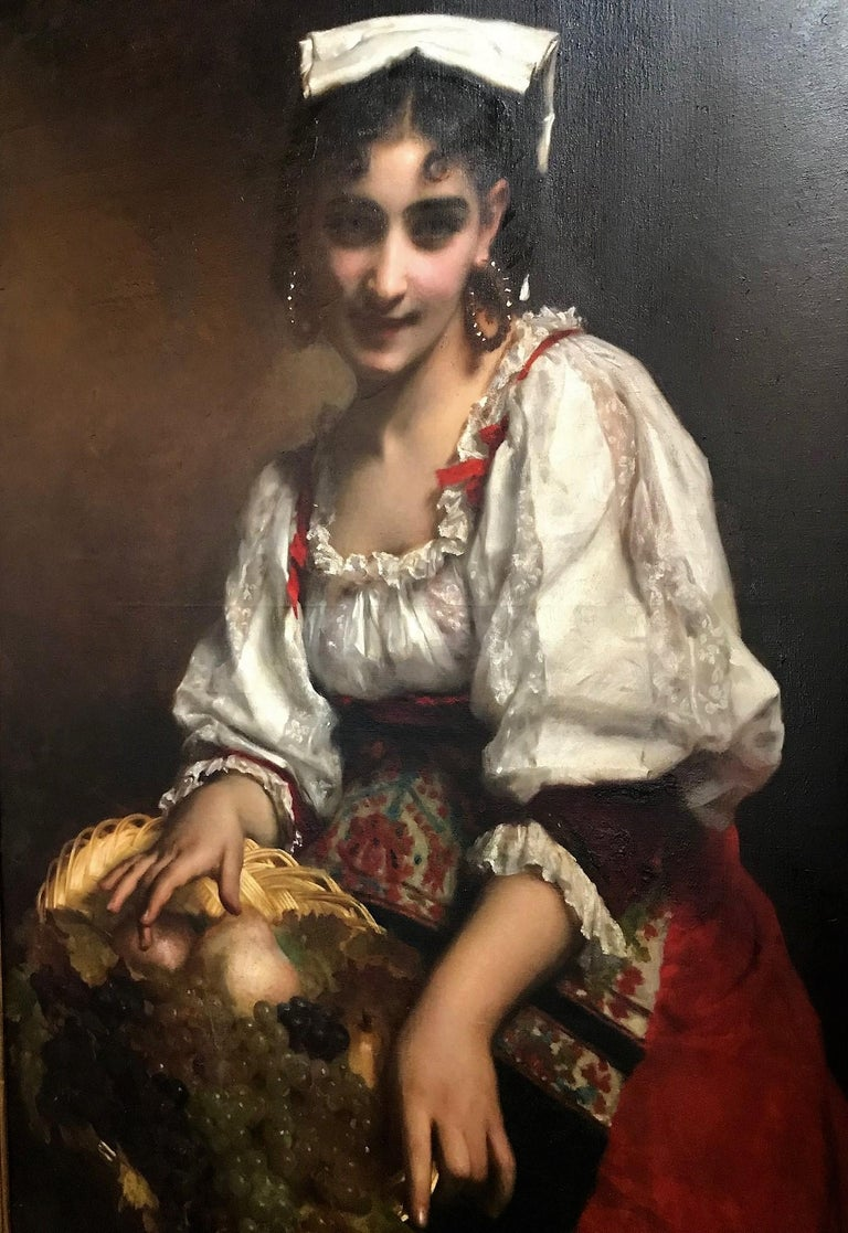 French 19th Century Portrait of an Italian Beauty by Étienne Adolphe Piot For Sale