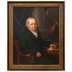 19th Century Portrait of David Schwab Switzerland Biel, Dated 1822, Sign Mente